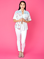 Vintage Express Mixed Prints Short-Sleeve Button-Up Shirt