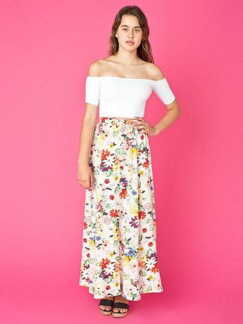 Vintage Buttoned Long Floral Skirt