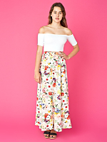 Vintage Buttoned Long Floral Skirt