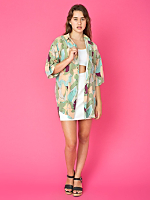 Vintage Oversized Abstract Print Silk Blouse