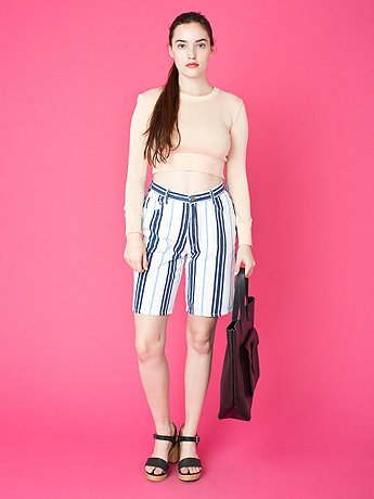 Vintage Striped Long Denim Shorts