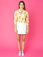 California Select Originals Silk Cropped Button-Up