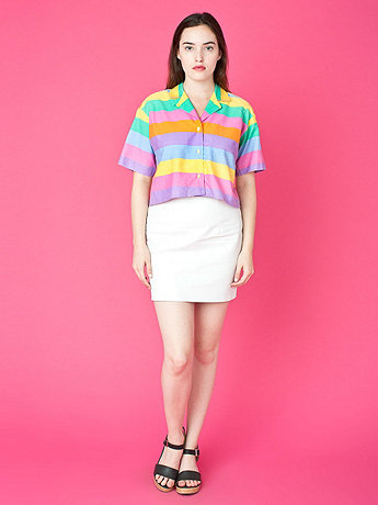 Vintage Candy-Colored Stripes Crop Top