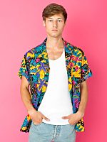 Vintage Hawaiian Print Short-Sleeve Shirt