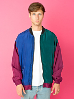 Vintage Color Block Silk Bomber Jacket