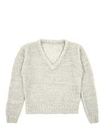 Vintage Kids' Pale Grey V-Neck Knit Sweater