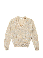 Vintage Kids' Marled Taupe V-Neck Knit Sweater