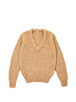 Vintage Kids' Camel V-Neck Knit Sweater