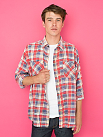Vintage Oversized Plaid Flannel Button-Up