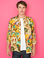 Vintage Age of Discovery Silk Button-Up