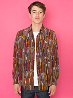 Vintage Oversized Necktie Print Silk Button-Up