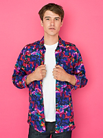 Vintage Abstract Floral Silk Button-Up
