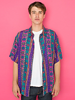 Vintage Oversized Colorful Short-Sleeve Silk Button-Up