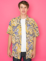 Vintage Tall Marbled Short-Sleeve Silk Button-Up