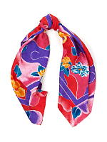 Vintage Colorful Floral Silk Scarf