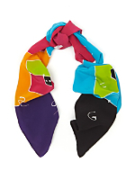 Vintage Colorful Abstract Long Silk Scarf