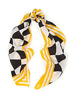 Vintage Checkered Long Silk Scarf