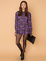 Vintage Oversized Abstract Print Silk Button-Up