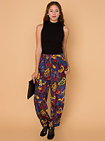 Vintage Abstract Floral Silk Jumper Pant