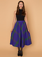 Vintage Jewel-Toned Plaid Wool Circle Skirt