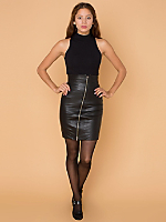 Vintage Asymmetrical Zipper Leather Skirt