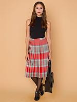Vintage Reversible Pleated Plaid Wool Skirt