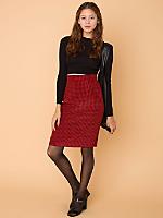 Vintage Houndstooth High-Waisted Silk Pencil Skirt