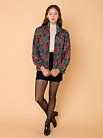 Vintage Chains & Ropes Print Silk Bomber
