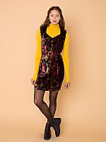 Vintage Sweetheart Floral Velvet Mini Dress