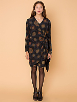 Vintage Medallion Print Silk Wrap Dress