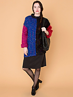 Vintage Colorful Color Block Mohair Sweater