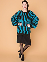 Vintage Oversized Sleeves Striped Knit Sweater