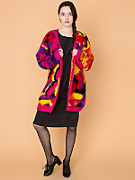 Vintage Oversized Colorful Abstract Mohair Cardigan