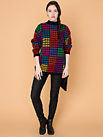 Vintage Colorful Houndstooth Angora Sweater