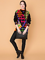 Vintage Mixed Patterns Knit Sweater