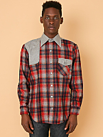Vintage Plaid & Grey Wool Button-Up