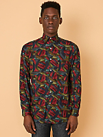 Vintage Perry Ellis Abstract Print Rayon Button-Up