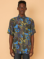 Vintage Abstract Face Print Short-Sleeve Silk Button-Up