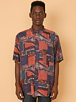 Vintage Abstract Print Short-Sleeve Silk Button-Up