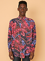 Vintage Abstract Print Silk Button-Up