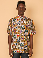 Vintage Geometric Print Short-Sleeve Silk Button-Up