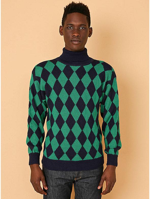 Vintage Diamonds Turtleneck Knit Sweater