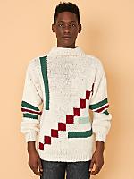 Vintage Geometric Mock Neck Knit Sweater