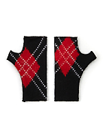 California Select Originals Argyle Angora Fingerless Gloves