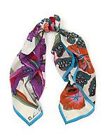 Vintage Tropical Floral Silk Scarf