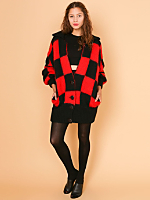 Vintage Oversized Checkered Mohair Cardigan