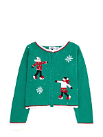 Vintage Kids' Ice Skating Christmas Cardigan