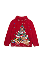 Vintage Kids' Embellished Christmas Tree Sweater
