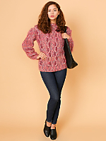 Vintage Embellished Cable Knit Mohair Sweater