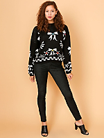 Vintage Bows Cropped Knit Sweater